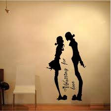 Free Shipping Boy Girl Love Kiss Couple Bedroom Living Room Decor Mural Art Vinyl Wall Sticker