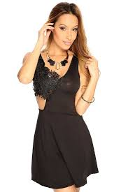 womens clothing party dresses black floral crochet cut out