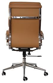 padded high back office chair camel vegan leather sold in a