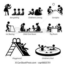 Pictogram Depicts Children Storytelling Kids Library Playing At Sandpits Ice Skating Child Care Room Toy Playground And Small Pool