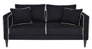 canap lavoine canapé droit noa 2 places l 160 cm noir passepoil blanc