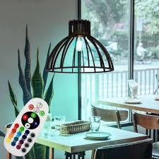 etc shop led pendelleuchte hängeleuchte schwarz hängele wohnzimmer gitterle holz rustikal farbwechsel fernbedienung dimmbar rgb led e27 dxh