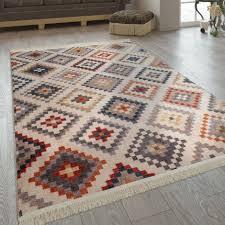 fransen teppich wohnzimmer ethno design boho rautenmuster