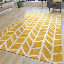 teppich wohnzimmer streifen grau gelb