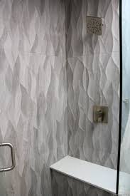 wave glass tile backsplash wavy large plank gray shower walls