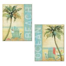 Tropical Beach And Ocean Palm Tree And Adirondeck Chair Print Set By Daphne  Brissonnet; Coastal Decor; Two 11x14in Paper Posters