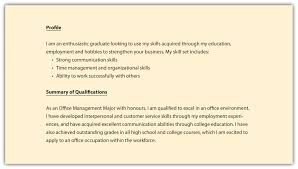 Profile On A Resume Example Of Section