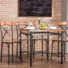 Broxburn Vintage Industrial 5 Piece Medium Brown Wood Pub Set