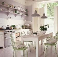 Green Painted Dining Chairs And White Kitchen Decorating