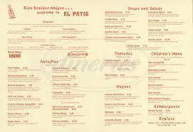 el patio restaurant menu simi valley el patio restaurant