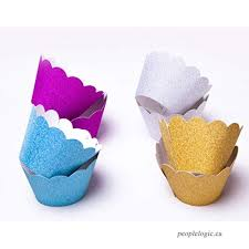 Astra Gourmet Metallic Glitter Cupcake Wrappers Liners Standard Size For Wedding Parties Pack Of 48Gold Silver Blue Red