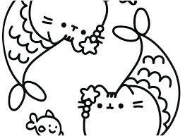 Pusheen Coloring Pages Footage Mermaid Fro Kids Get Halloween