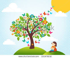 Cute Spring Time Landscape With Tree Flowers Composition And Girl Vector File Layered For Easy