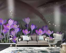 großhandel benutzerdefinierte romantische blumen 3d tapete handgemalte schöne lila blume wohnzimmer schlafzimmer tv hintergrund tapete wand