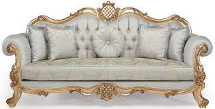 casa padrino luxus barock wohnzimmer sofa mit dekorativen kissen hellblau türkis gold 222 x 82 x h 120 cm barock wohnzimmermöbel