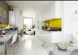 cuisine jaune et blanche cuisine blanche leroy merlin ouverte sur salon