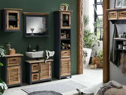 details zu badmöbel set kansas 5teilig holz grau braun wandschrank badschrank holz möbel