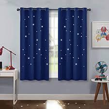 pony kinder vorhang schlafzimmer kurze gardinen blickdicht dekoschal gardine mit ausgehöhlten sternen vorhänge ösenschal 2er set h 137 x b