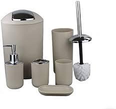 gmmh 6tlg badset badezimmer zubehör set seifenspender halter wc bürste badgarnitur beige design 2