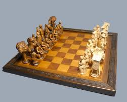 Bavarian Pearwood Chess Set Circa 1930