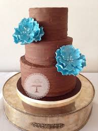 Rustic Chocolate Ganache Wedding Cake With Electric Blue Open Peonies