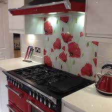 Poppy Patterned Glass Splashback