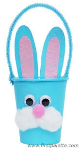 Paper Cup Bunny Basket Craft Kids Crafts FirstPalette Com Art And For With Cups Step By