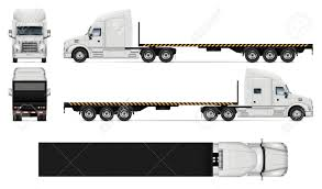 100 Truck Flatbed Truck Vector Mockup On White For Vehicle Branding Corporate