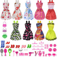 Amazoncom Total 50pcs 9 Pack Doll Clothes Party Gown Outfits