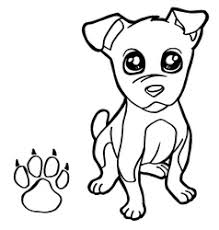 Dog With Paw Print Coloring Pages Vector Image