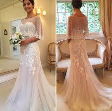 Vintage Lace Mermaid Wedding Dresses 2016 With Wrap Backless Boho Chic Rustic Garden Appliques Ruffled Court