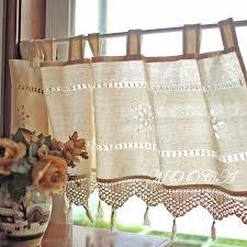 rustikale baumwolle kurze küche vorhang mit häkeln spitze quaste 45x150cm dekoration häkeln vorhang