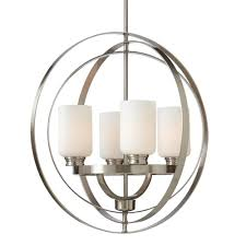 Home Decorators Collection 4 Light Brushed Nickel Chandelier With Etched White Glass Shades 7900HDC
