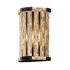 troy lighting stix 2 light antique gold leaf wall mount sconce