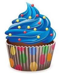 """Vector Blue Cupcake with Sprinkles 24""""H x 20""""W Peel and"""