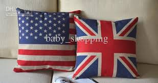 By Ems Linen American Flag Cushion Cover British Flag Pillow Cover