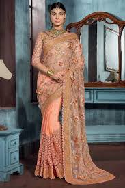 Peach Designer Wear Indian Wedding Saree With Embroidered Blouse D16019