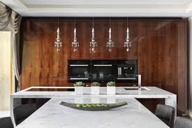 Here Slim Appliances Are Nestled Into A Glossy Wall Of Rich Wood Cabinets