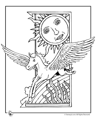 Art Deco Pegasus Coloring Page