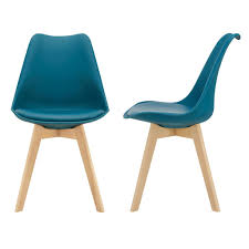 2x design stühle esszimmerstuhl türkis polyurethankunstleder stuhl holzgestell en casa