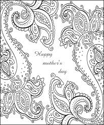 Adult Coloring Page Happy Mothers Day Card