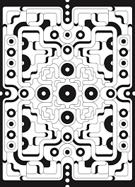 Creative Haven Infinite Illusions Coloring Book Eye Popping Designs On A Dramatic Black Background 6 Sample Pages