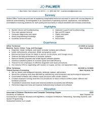 Office Technician Resume Sample