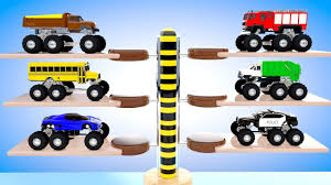 Colors For Children To Learn With Multi Level Parking Trucks For ...