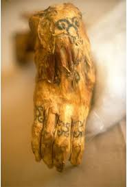 The Tattooed Right Hand Of A Chiribaya Mummy Is Displayed At El Algarrobal Museum Near Port Ilo In Southern Peru Were Farmers Who