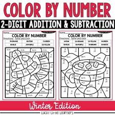 Winter 2 Digit Addition And Subtraction Color By Number No Prep Printables