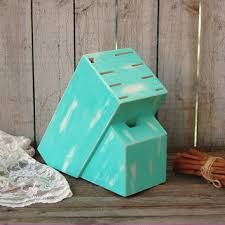 Knife Block Upcycled Shabby Chic Hand Painted Tiffany Blue Aqua