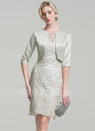 sheath column scoop neck knee length lace mother of the bride