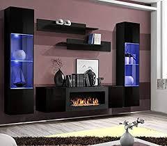 moderner wohnwand lexus mit bio kamin anbauwand schrankwand weiß schwarz 21 schwarz