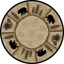 Amazon Dean Toccoa Bear Lodge Cabin Carpet Area Rug Size 53 Round Kitchen Dining